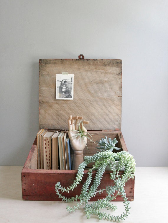 vintage storage / primitive red slant top box