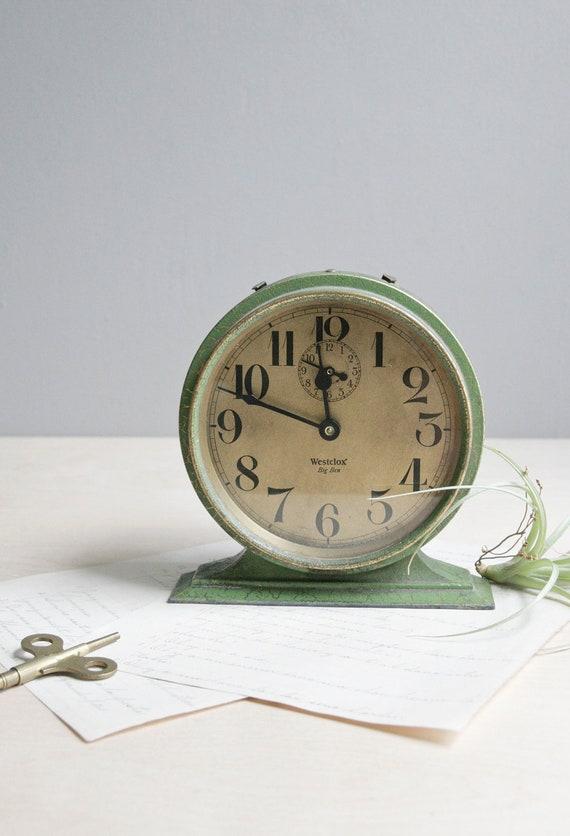 antique big ben wind up clock / green & gold
