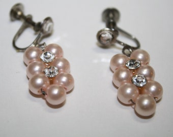 Vintage PINK Pearls & Rhinestone Dangle Earrings , mad men era,Brides Something Old, maid of honor,