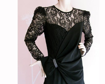 Black Widow Vintage 1980s Diamond and Lace Cocktail Dress