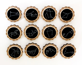 "Zodiac Constellation Wooden Brooches ""Oh My Stars"" Laser cut, Tasmanian Oak Timber Wood and Acrylic Star Signs Pins"