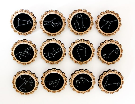 "Zodiac Constellation Wooden Brooches ""Oh My Stars"""
