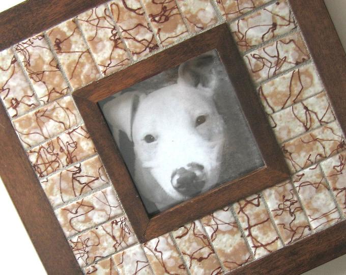 Mosaic Frame, Handmade Vintage Tile Mosaic Frame, Square Picture Frame, Wood Tile Frame, Brown Drizzle Ceramic Tile Frame, Picture Frame