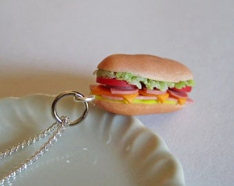 Food Jewelry- Sub Sandwich Necklace -Polymer Clay