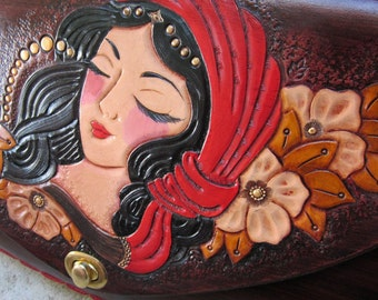 The Dreaming Gypsy....Handmade Tooled Leather Clutch Purse