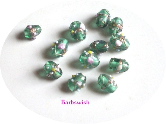 Green  Artisan Glass Beads with Flowers