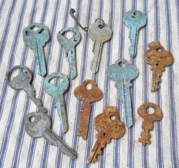 Dozen vintage keys verdigris and rusty patina Mixed Media Upcycle supply  G3