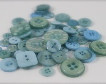 50 Blue Sky Buttons-Buy 3, Get 1 FREE