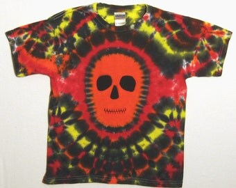 Tie Dye Shirt, Halloween Skull Tie Dye T Shirt, Youth Medium