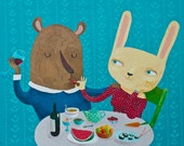 Mr. Bear and Ms. Rabbit A4 print