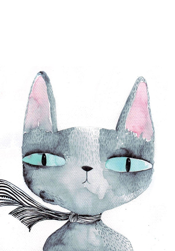Cat's eyes card, cat greeting card, blank, watercolour cat card