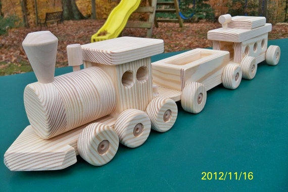 Wooden Train Set Large (3 car) Handmade toy Pine Heirloom Quality all ...