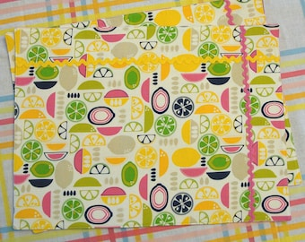 Bright Citrus Placemats - Set of 2 Double Sided Placemats in Pink, Yellow, Navy Blue and Lime Green - Lemon, Lime, Orange Summer