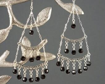 Garnet Crystal Chandelier Earrings