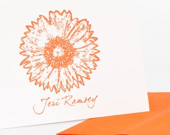 Gerber Daisy 2 Personalized Stationery Set (20) plus Matching Address Labels