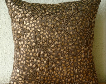 "Brown Throw Pillows Cover For Couch,  Square  Sequins & Beaded Leaf Design Tropical Theme 16""x16"" Silk Throw Pillows Cover - Gold Leaves"