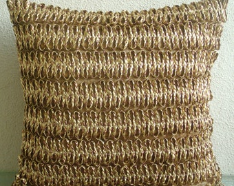 "Handmade  Gold Copper Pillows Cover, 3D Metallic Cord Pillows Cover Square  18""x18"" Faux Leather Pillows Covers For Couch -Gold N Copper Tan"