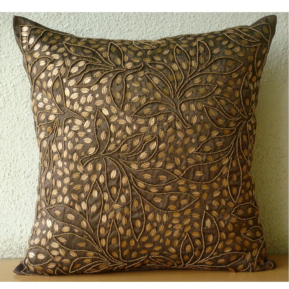 Gold Brown Throw Pillows : Brown Throw Pillows Cover For Couch Square Sequins & Beaded