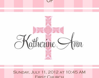 Baby Girl Baptism invitation - digital file - Christening  Baby Dedication - first communion