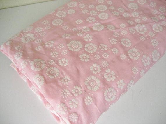 2.9Y Vintage Flocked Floral Pink Cotton Fabric
