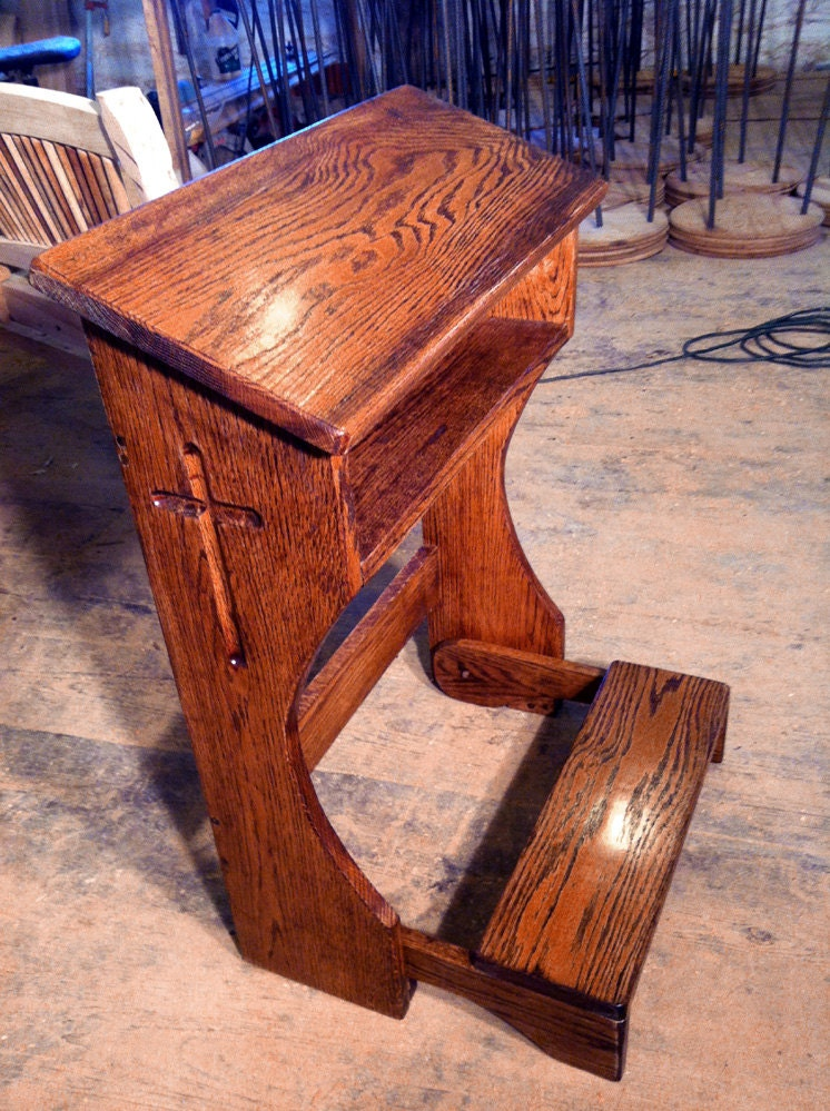Folding Prayer Kneeler Or Prie Dieu From Reclaimed Oak
