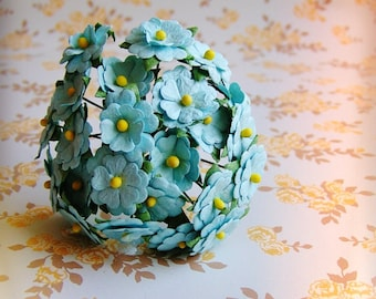 Sky Blue Blossoms Vintage style Millinery Flower Bouquet - for decorating, gift wrapping, weddings, party supply, holiday