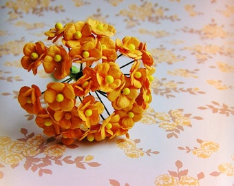 Golden yellow forget me nots Vintage style Millinery Flower Bouquet - for decorating, gift wrapping, weddings, party supply, holiday