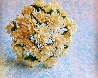 Warm Ivory Dahlias Vintage style Millinery Flower Bouquet - for decorating, gift wrapping, weddings, party supply, holiday