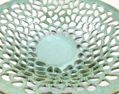 Pottery fruit bowl, Large decorative lace bowl, sea foam green- (In stock) FB002