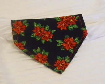Holiday Dog Collar Bandana in Black with Poinsettas Sizes XS to M