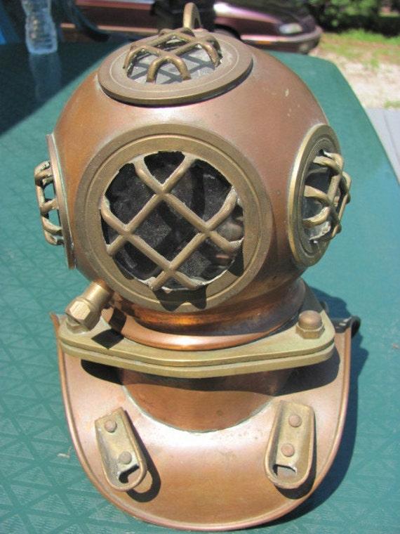 Miniature Vintage Copper and Brass Diving Helmet