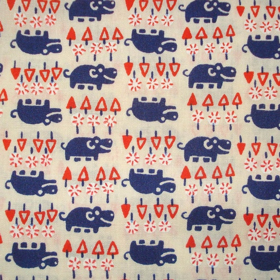 Vintage Cotton Fabric - Happy Hippos - Red White and Blue - Screen Print Fabric