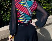 Black Long Dress w Bright Stripe Contrast, Jersey Knit Fabric, V Neck, Full Long Sleeve in Chiffon, Full Long Skirt.