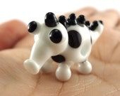 Black and White Spotted Monster Lampworked Glass Figurine Bead