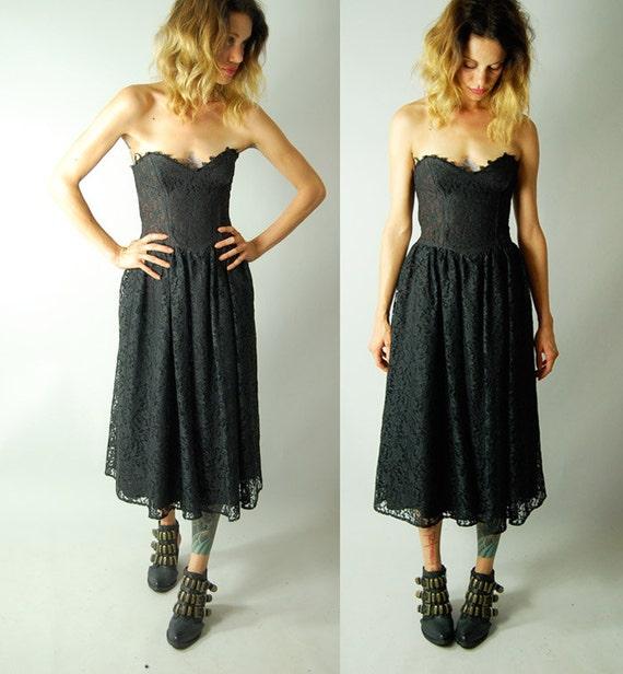 vintage 80s black lace GUNNE SAX DRESS semi sheer small
