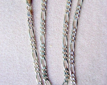 Chain ,STERLING, SILVER,  24 inch, 5.5mm,  Figaro, Finished, Reversible, Clasp,