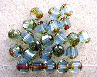BEADS,CZECH, GLASS,  4 mm, Round, Faceted,Pressed,Two Tone,Aqua, Olivine, Green, Blue, 25 Pieces