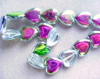 Czech, Heart,  Beads, Flat ,Large , 25 x 18mm,1st Quality, Crystal, Vitrail., 5 Beads