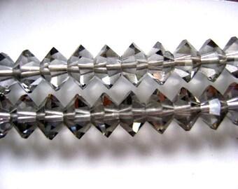 Beads,Swarovski, Vintage, 8mm, Black Diamond,  Austrian, Crystal, 50 Pieces, Grey, Smoky