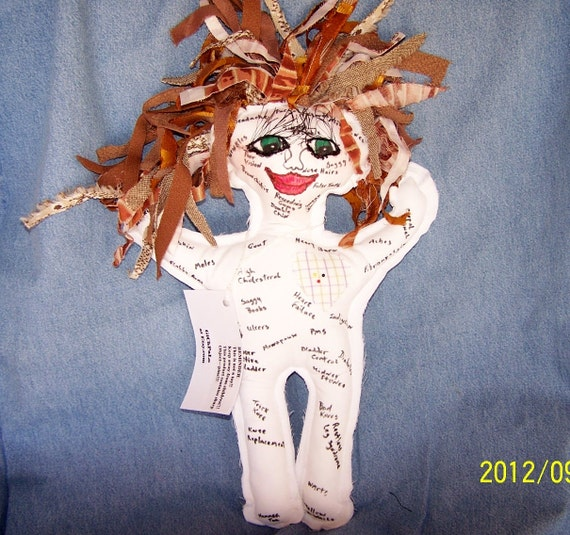 Brown hair and green eyed Ache and Pain Doll great for Birthdays, Retirement, doctors, nurses, milestone birthdays..