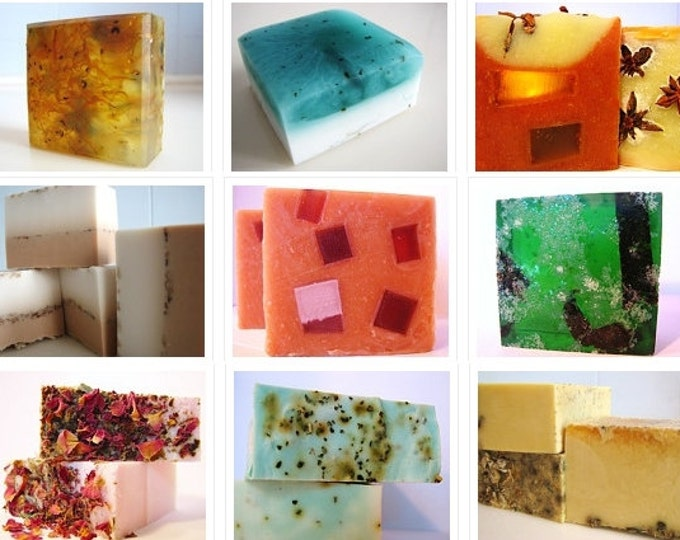 SOAP -6 vegan soaps, handmade soap 6 pack, vegan soap, cold process soap, soap set, soap gift - Stocking Stuffers
