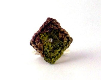Crochet Ring Fiber Ring Miniature Granny Square Diamond Shape Mofit Moss Green Brown Cream Band
