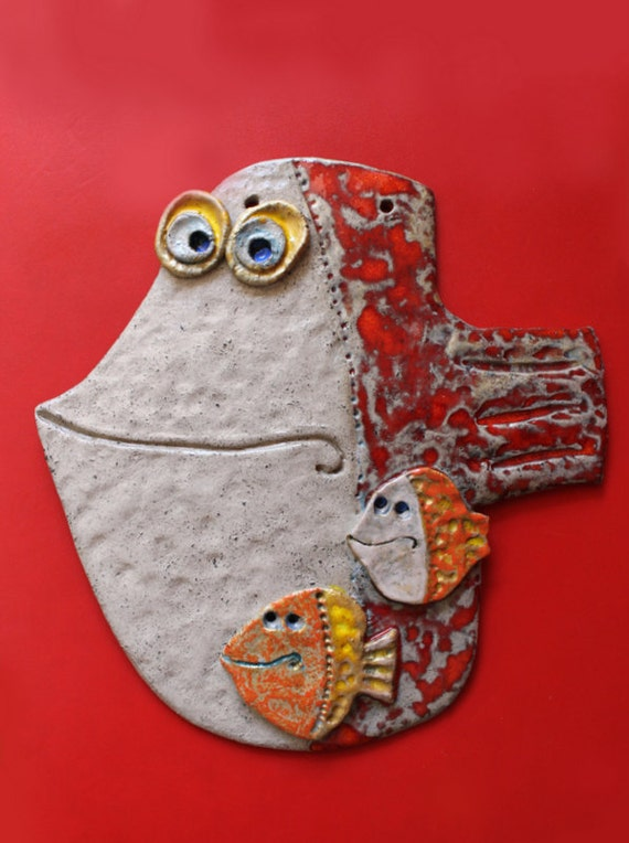 Handmade Pottery Wall Decor The Fish 3 reserved