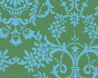 Blue And Green Damask Print 100% Cotton Quilting Fabric