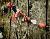 Yo-Yo & Fabric Garland- Photography Prop- Wedding Garland- Nursery Decor- Garden Party, hand sewn