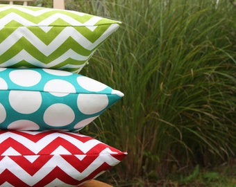 Red, Blue and Green Pillow Cover Trio