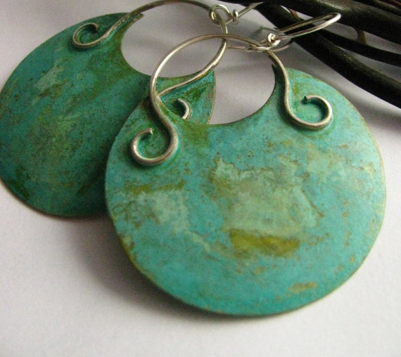 Large Bronze And Silver Verdigris  Earrings - Mixed Metal Jewelry Green Patina