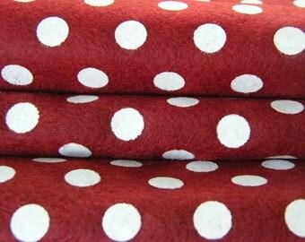 Red Christmas  Polka Dots Felt