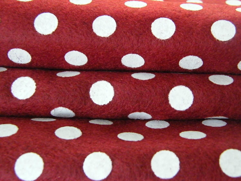 Red christmas polka dots felt printed felt sheet from for Polka dot felt fabric
