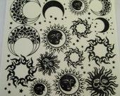 "Black Enamel Glass Fusing Decals, Fused Glass Decals, Fusing Decals, Fusible Glass Decals Sun and Moon 4"" Sheet"